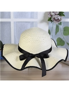 Wide Brim Dome Bowknot Embellished Sunshade Beach Hat 3