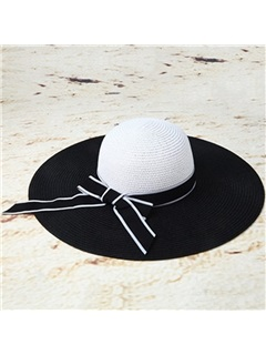 Stripe with Bowknot Decorated Wide Brim Sun Hat 1