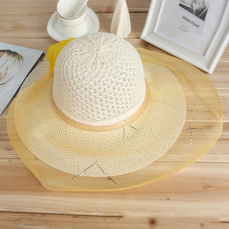 Wide Brim with Hollow Lace Grenadine Beach Sunscreen Hat