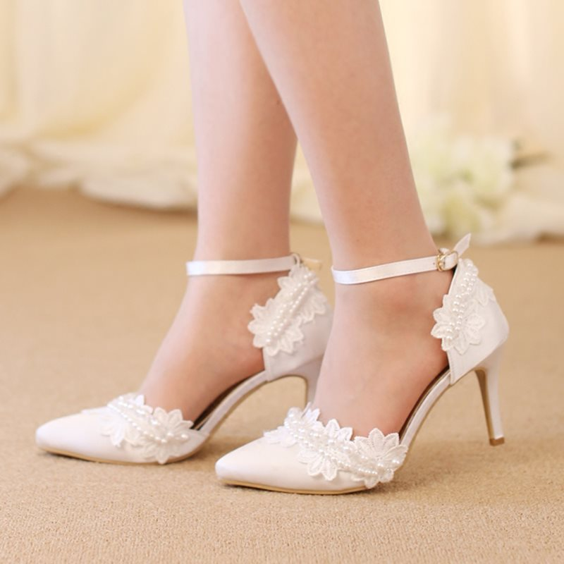 PU Beads Lace Pointed Toe White Wedding Shoes