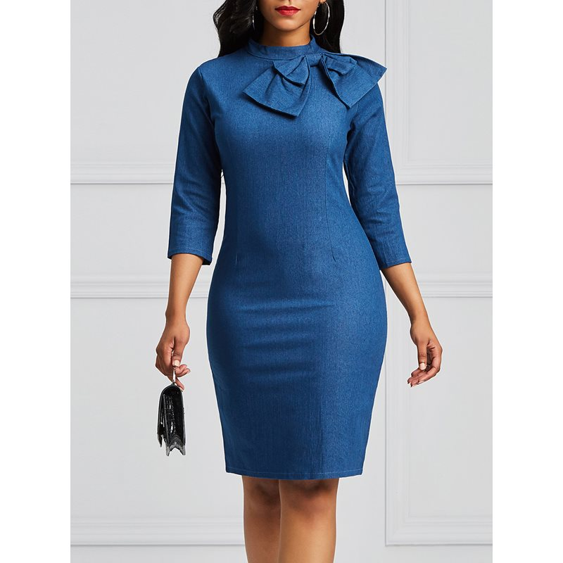 Tidebuy Mid-Calf Stand Collar Womens Denim Bodycon Dress