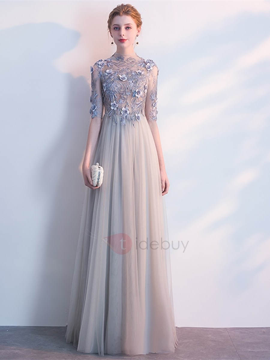 A-Line Embroidery High Neck Flowers Evening Dress