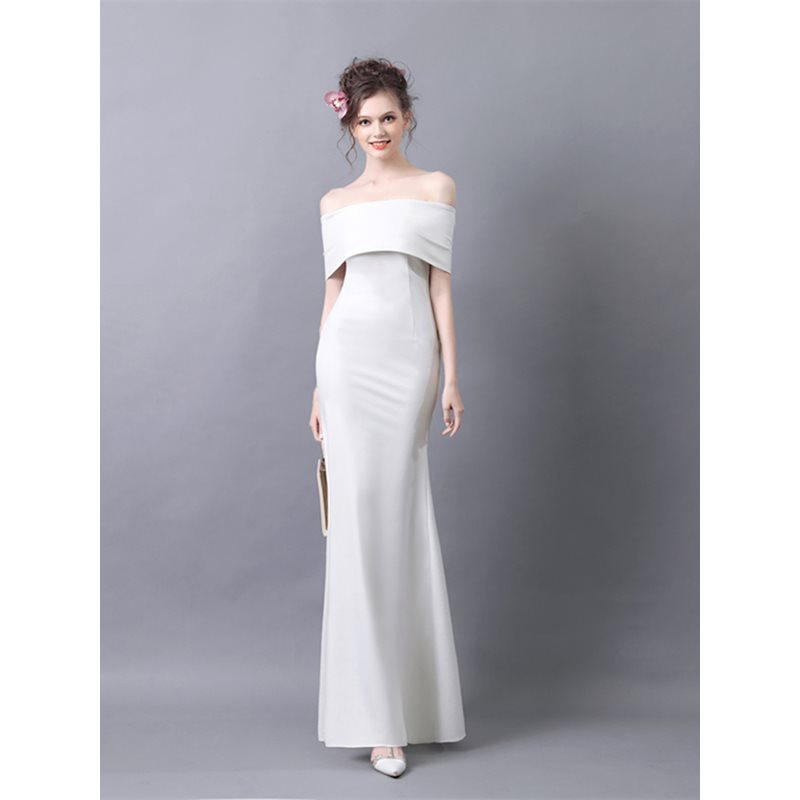 Off-the-Shoulder A-Line Short Sleeves Evening Dress 2019