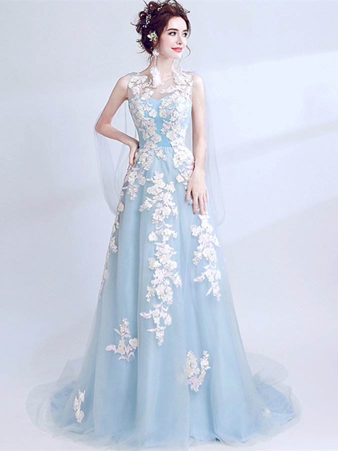 A-Line Embroidery Pearls Scoop Prom Dress