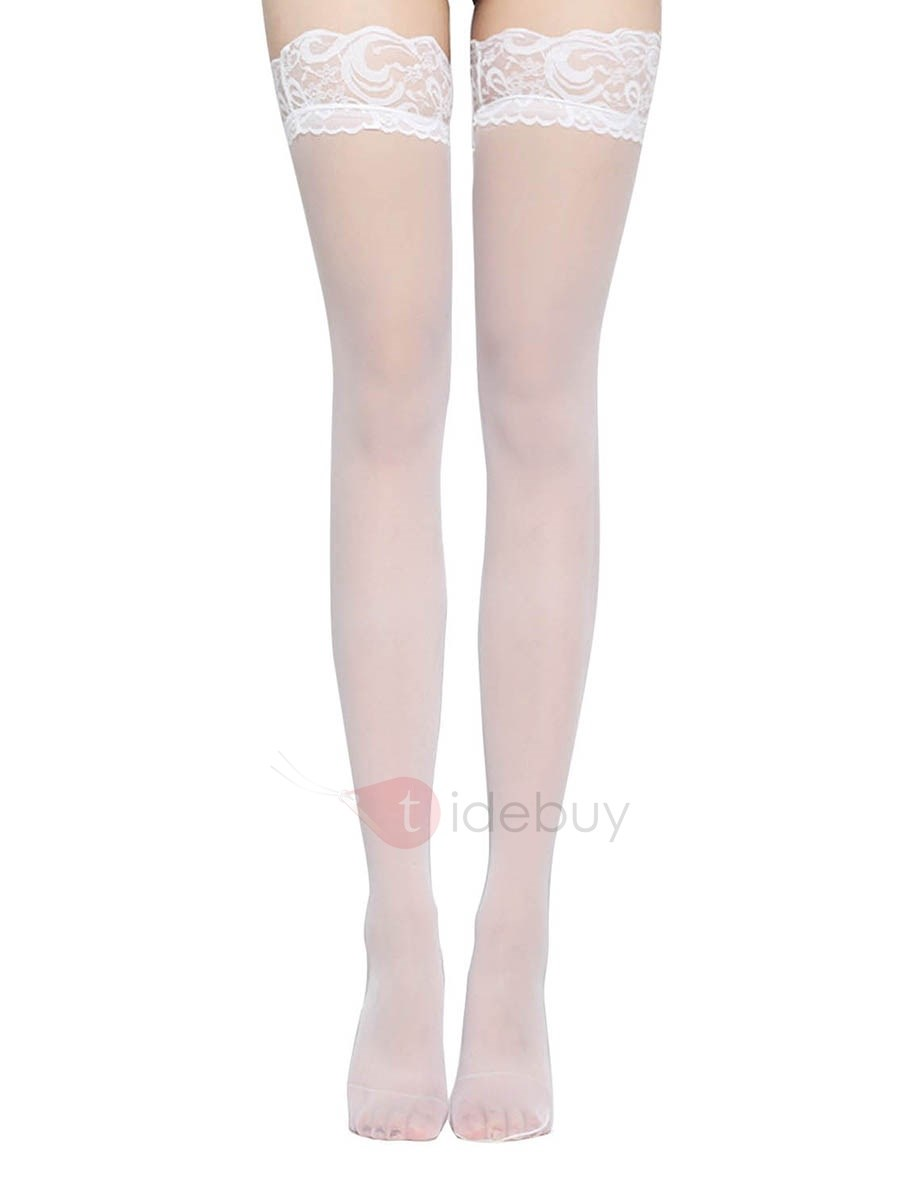 Image of Plain Lace Thigh-High Stocking