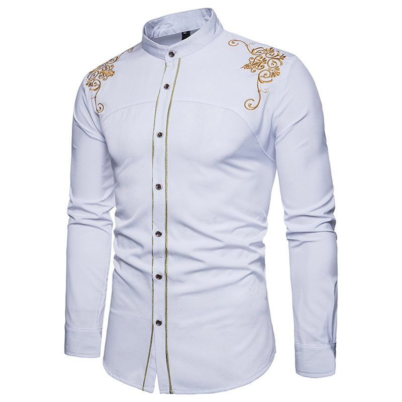 Embroidery Stand Collar Slim Mens Shirt
