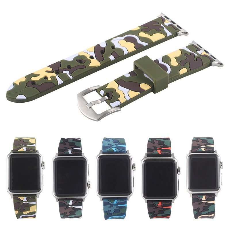 Apple Watch Sports Wristband 42mm 38mm,Soft Silicone Camouflage Strap for iwatch Series 3 2 1