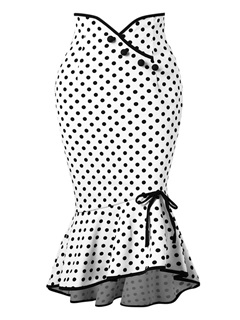 Polka Dots Mermaid Bowknot Women's Skirt 3