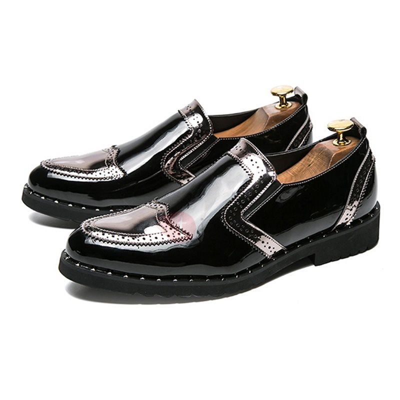 Image of PU Slip-On Patchwork Mens Dress Shoes
