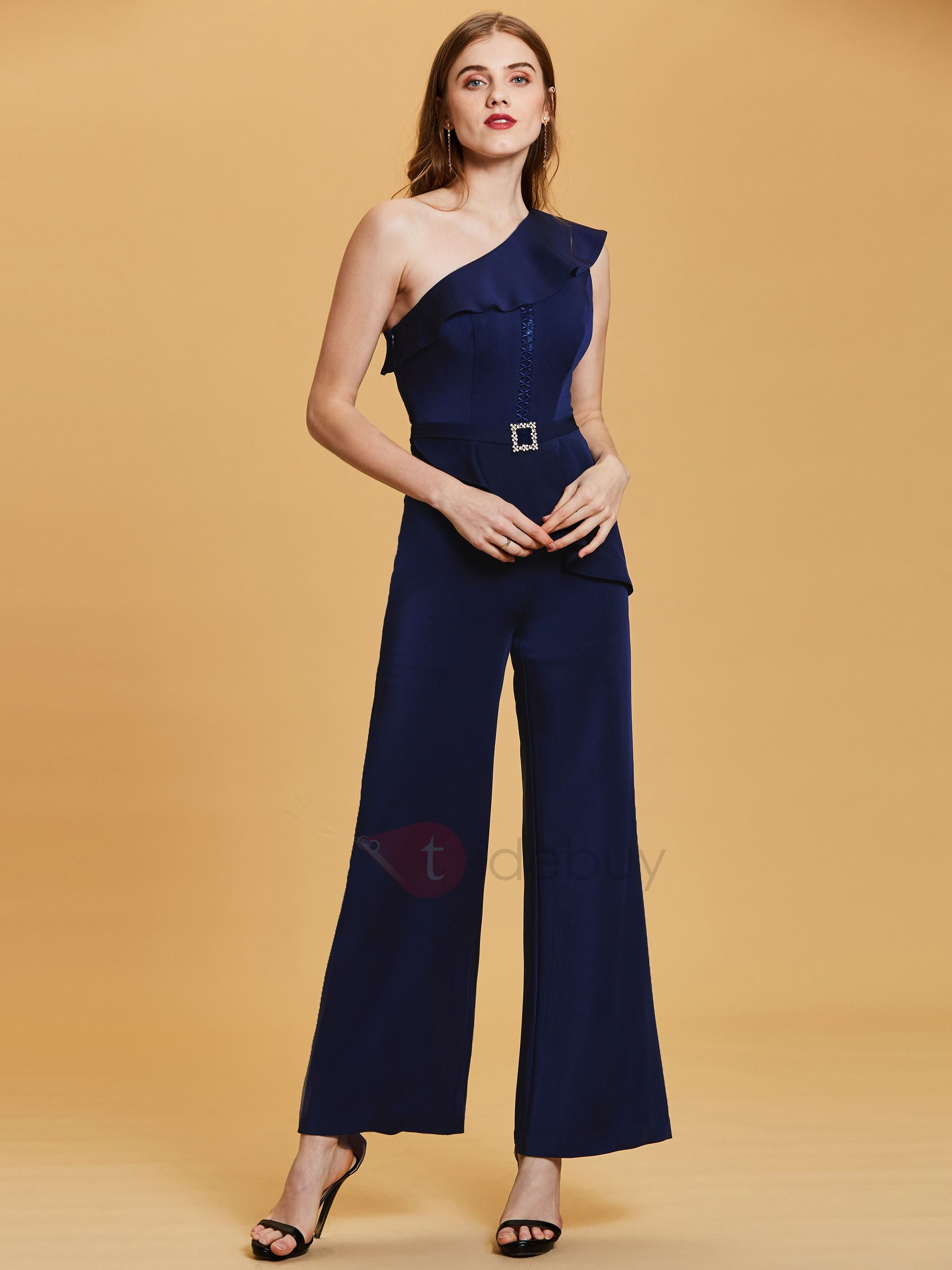 Image of One Shoulder Beading Flouncy Evening Jumpsuits