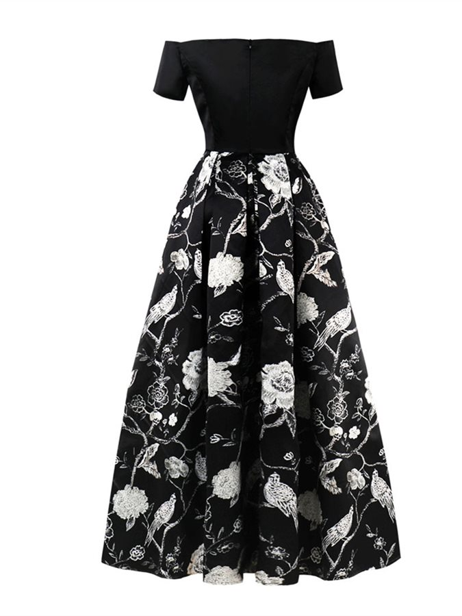 Off-the-Shoulder Printing A Line Prom Dress