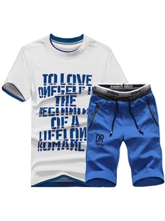 Short Sleeve Letter Print Men's Sports Suit 2
