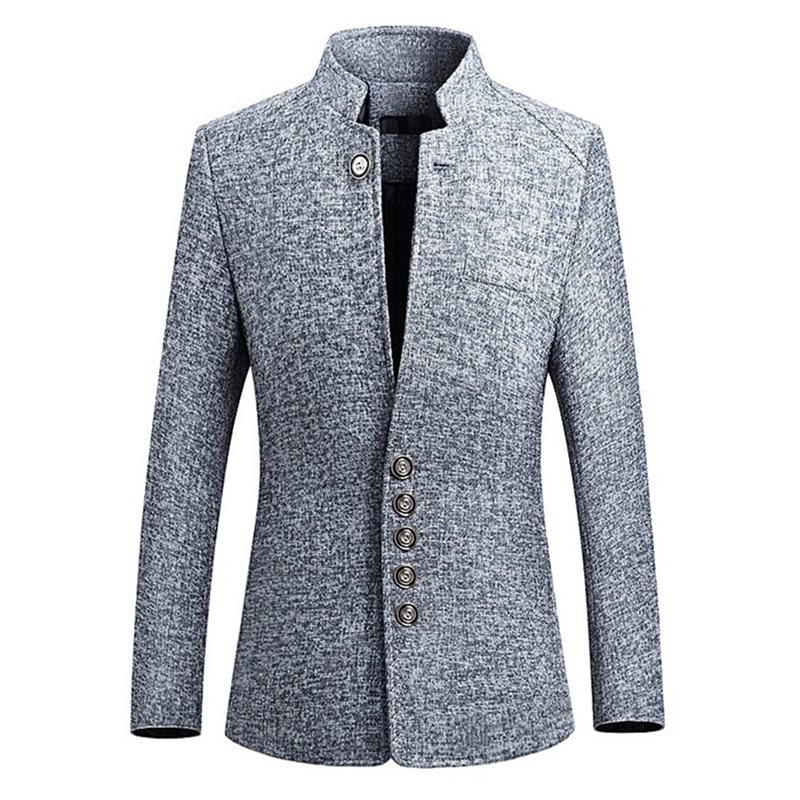 Stand Collar Single-Breasted Plain Mens Casual Blazer