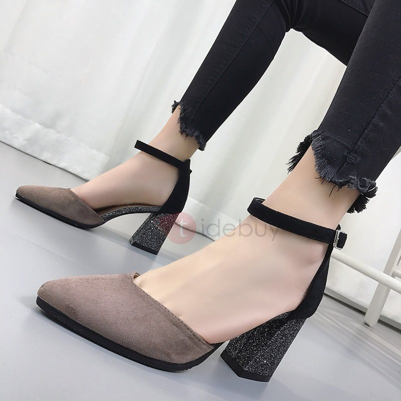 PU Pointed Toe Patchwork Chunky Heel Womens Pumps 13216062