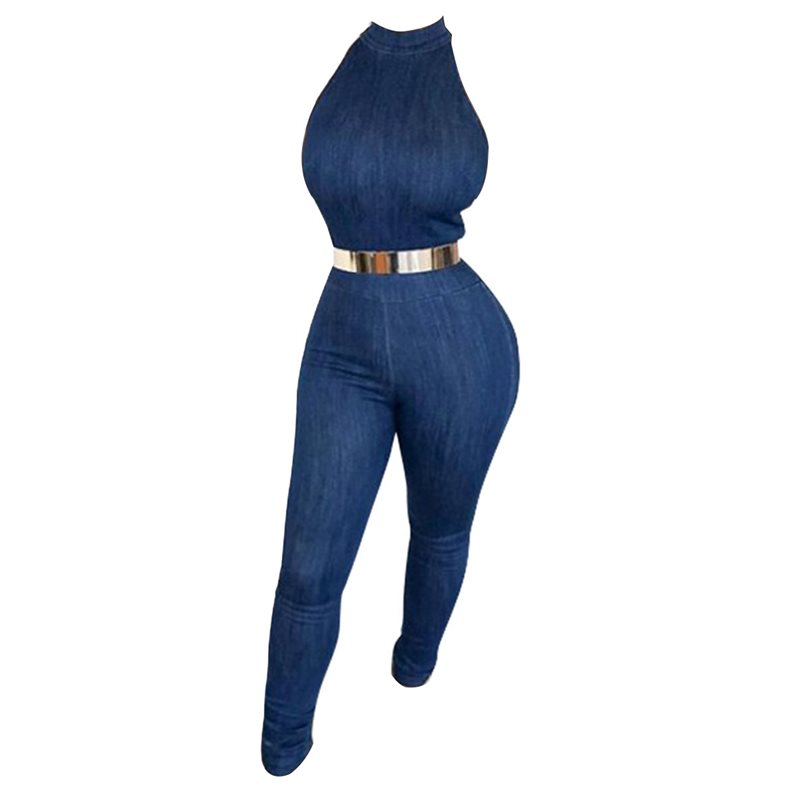 Denim Plain Skinny Womens Jumpsuit