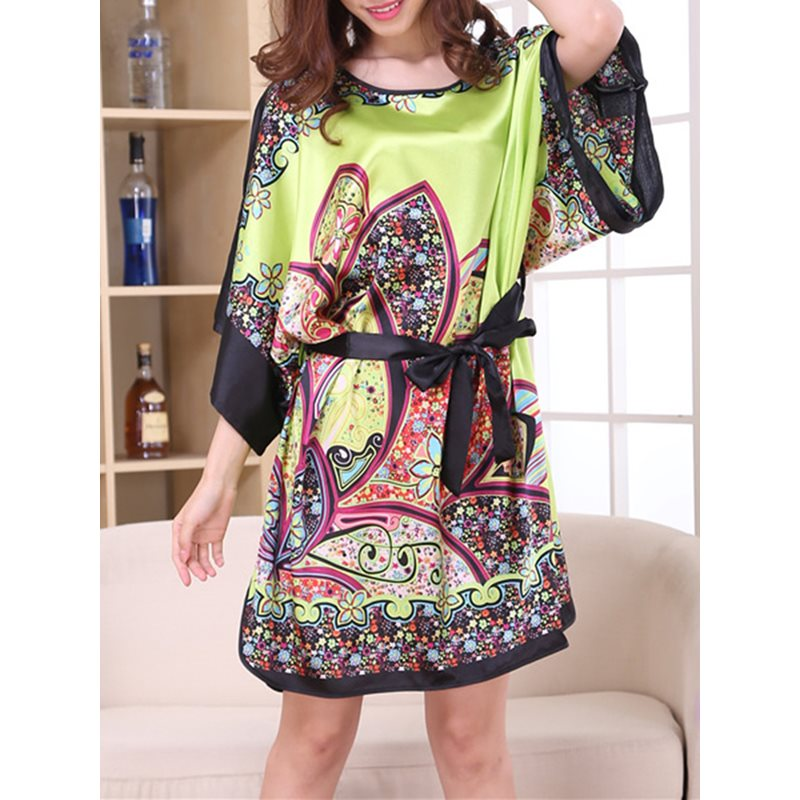 Batwing Print Sleeve Lace-Up Loose Night Dress