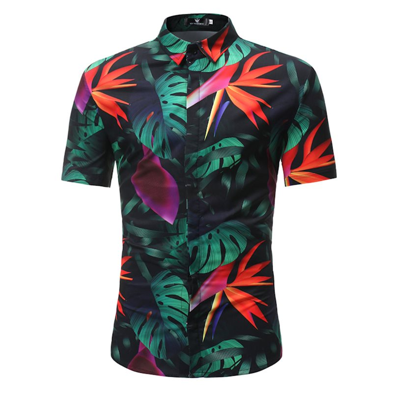 Tidebuy Leaf Print Short Sleeve Mens Hawaii Shirt