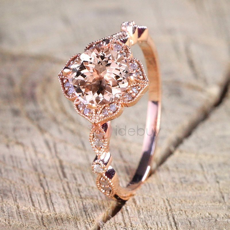 Image of Petal Shaped Pink Zircon Design Wedding Rings
