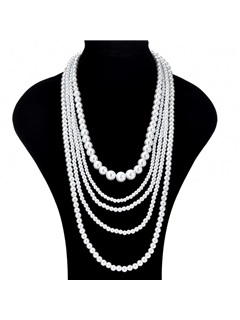 Multi-layer Beads Pearl Decorated Wedding Chain Necklace