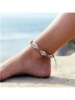 Shell with Wood Beads Decorated Beach Holiday Anklets