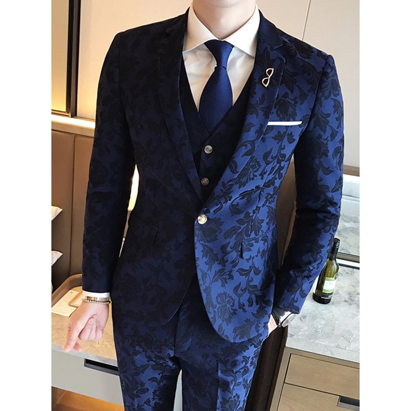 Floral Print One Button Mens Three Piece Suit фото