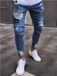 Tidebuy Hole Fashion Design Men's Skinny Jeans