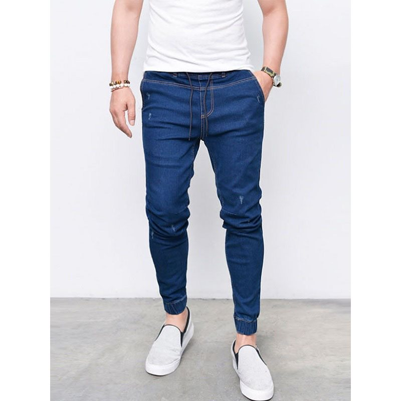 Tidebuy Plain Lace-Up Mens Skinny Jeans