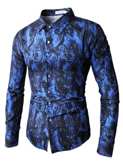 Tidebuy Floral Print Blue Men's Slim Shirt 2