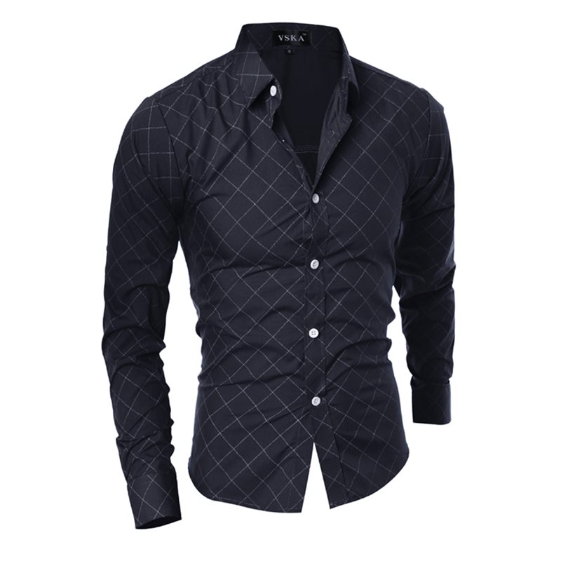 Tidebuy Plaid Solid Color Slim Fit Mens Long Sleeve Shirt