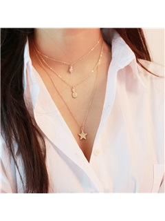 Multi-layer Star Pendent E-plating Choker Necklace