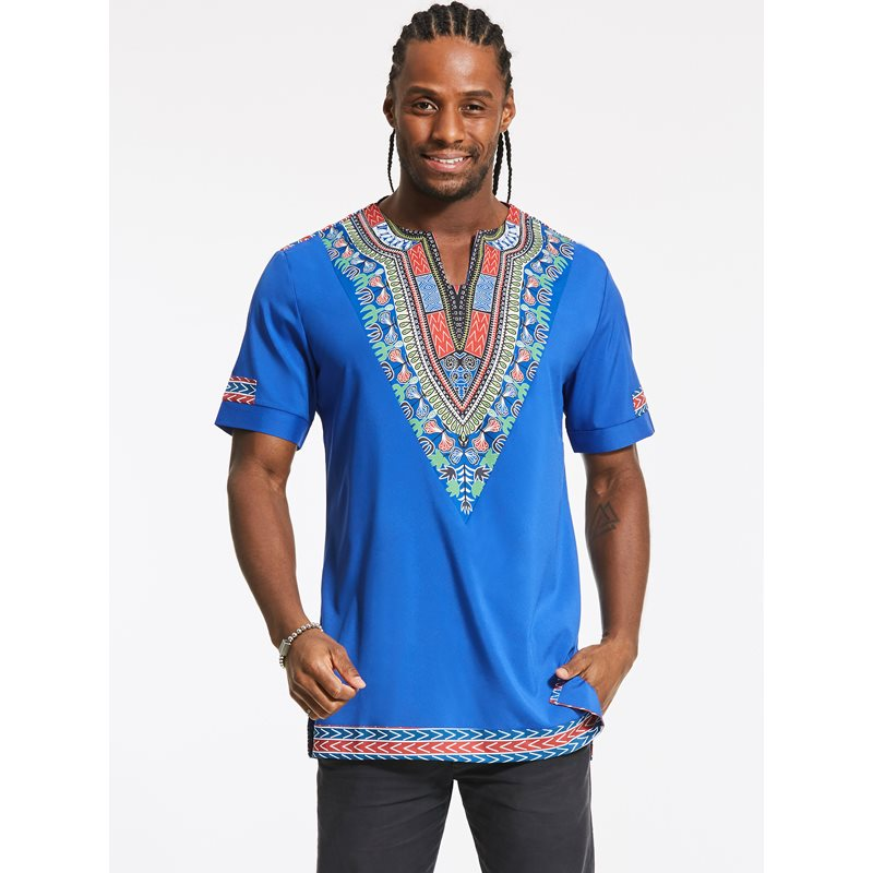 Tidebuy Dashiki African Print Short Sleeve Mens T-Shirt