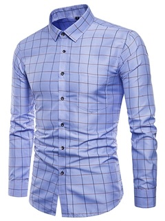 Tidebuy Solid Color Plaid Men's Dress Shirt 2