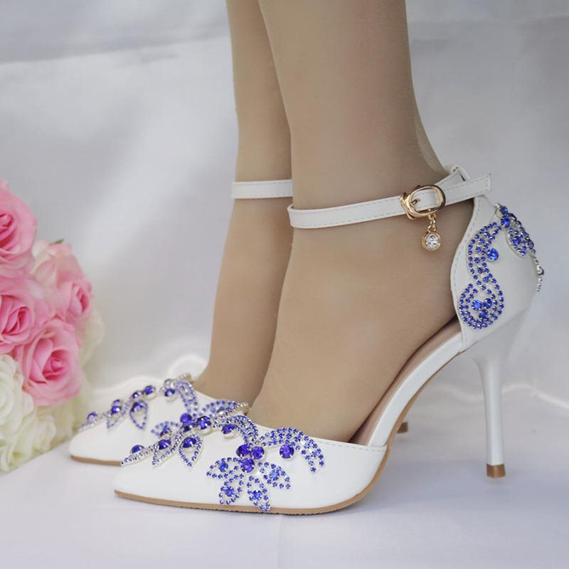 PU Rhinestone Line-Style Buckle Wedding Shoes