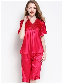 Loungewear V-Neck Falbala Short Sleeve Knee Length Pajama Set 3