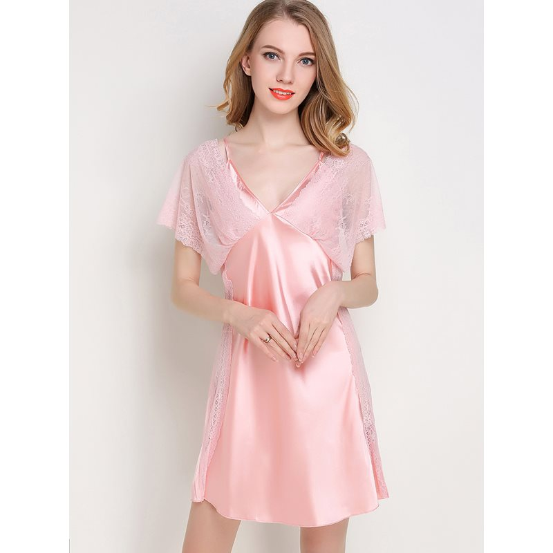 V-Neck Batwing Sleeve Above Knee Womens Nightgown