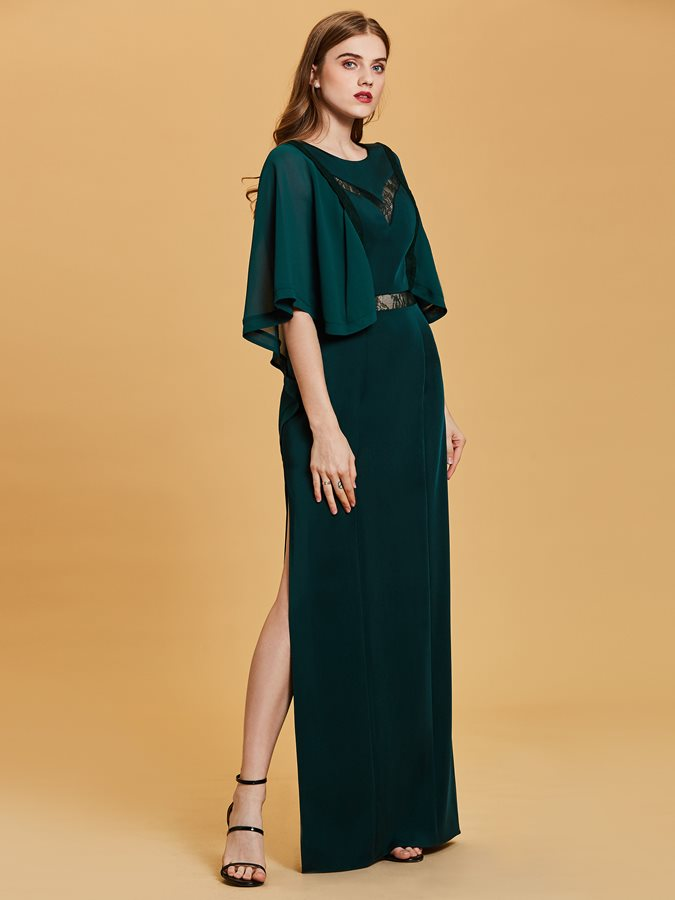 Scoop Neck Half Sleeves A Line Evening Dress