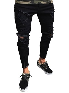 Hole Worn Black Men's Skinny Jeans 10