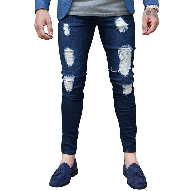 Tidebuy Hole Low-Waist Mens Skinny Jeans
