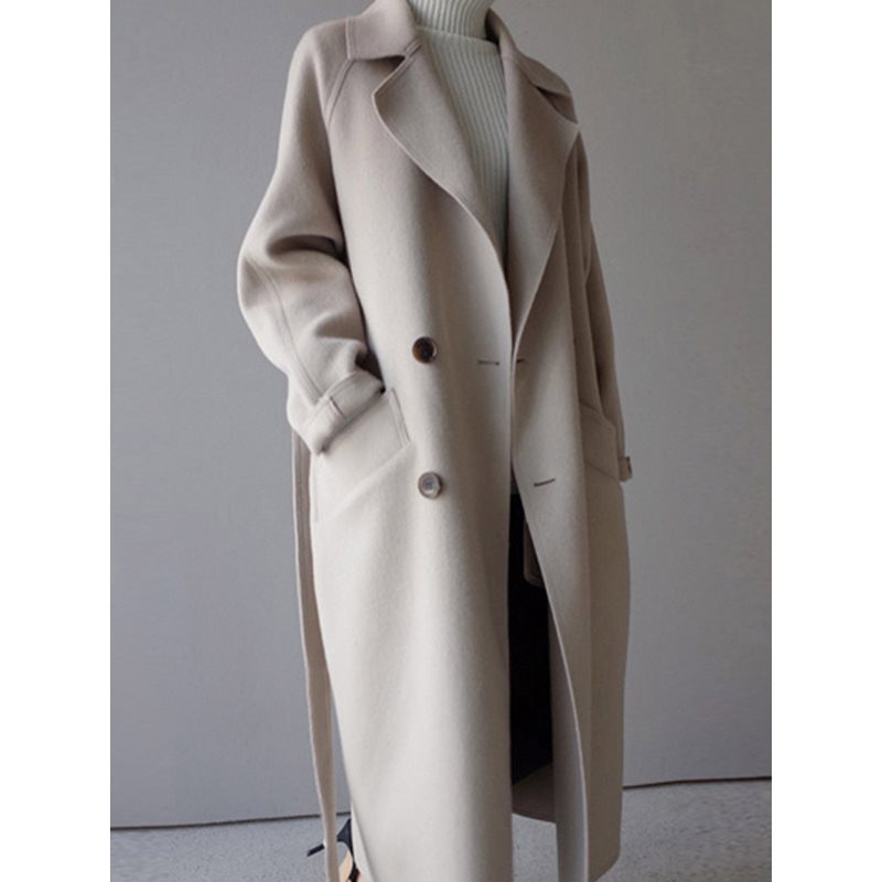 Double-Breasted Notched Lapel Womens Long Overcoat фото