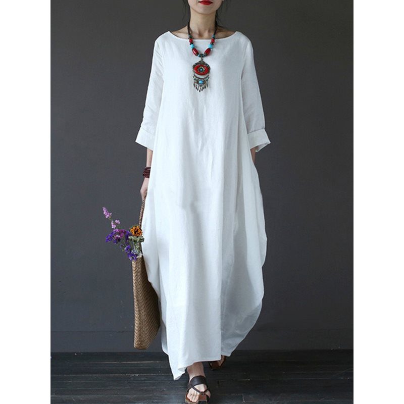 Tidebuy 3/4 Sleeves Loose Boho Dress