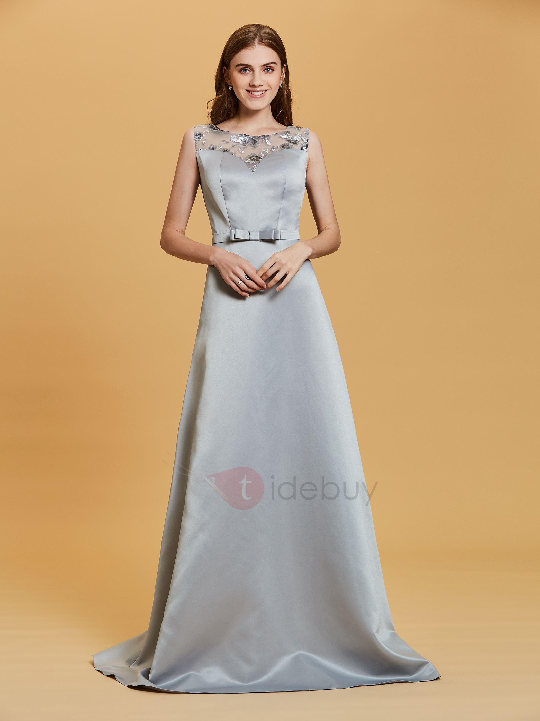 Image of Scoop Neck Sequins A Line Bowknot Evening Dress