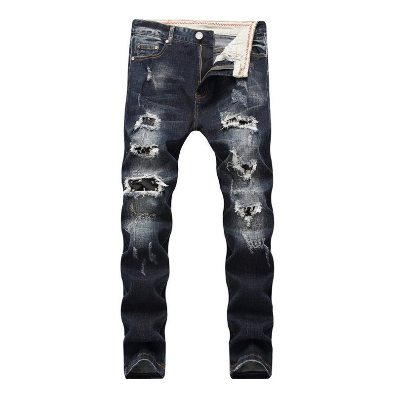 Tidebuy Hole Zipper Slim Fit Mens Ripped Jeans
