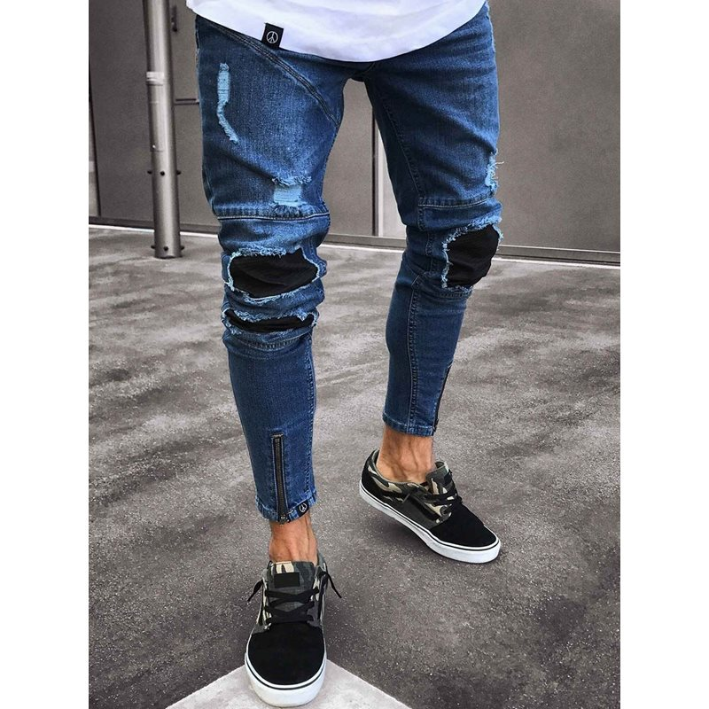 Tidebuy Worn Hole Stylish Mens Skinny Jeans