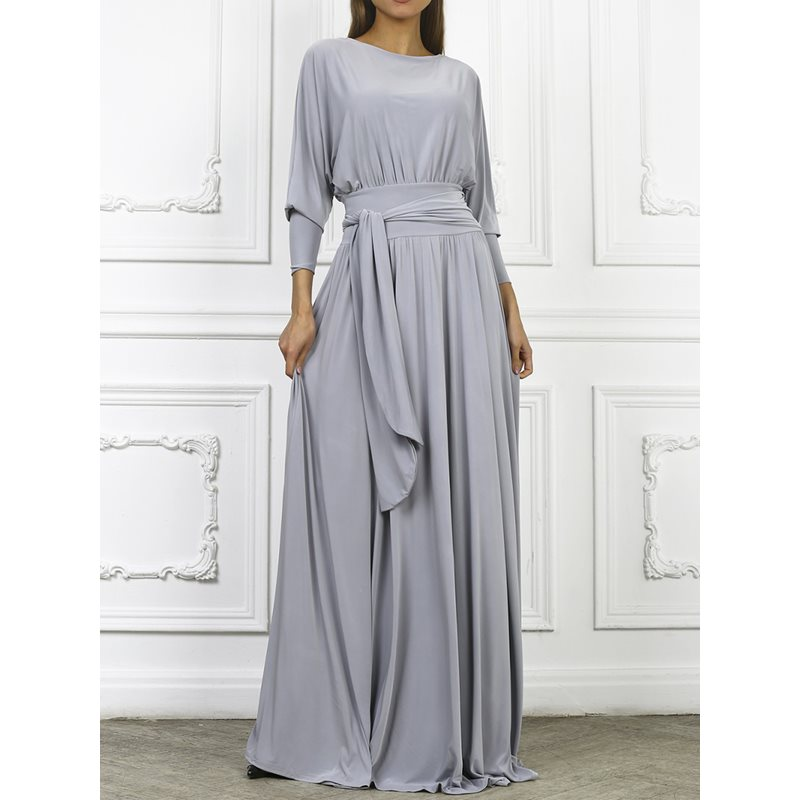 Floor-Length Lace-Up Polyester Pleated Womens Maxi Dress