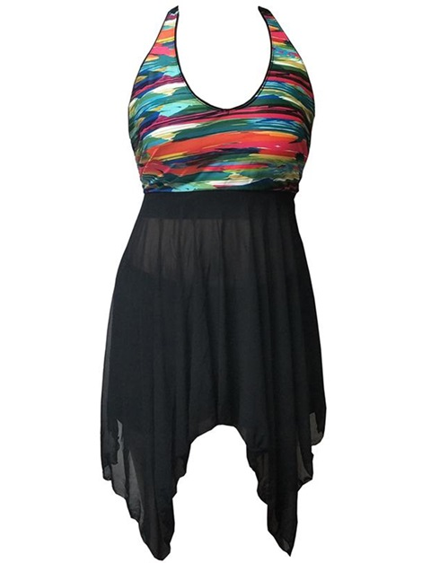 Colorful Stripe Halter Sleeveless Asymmetric Tankini Set