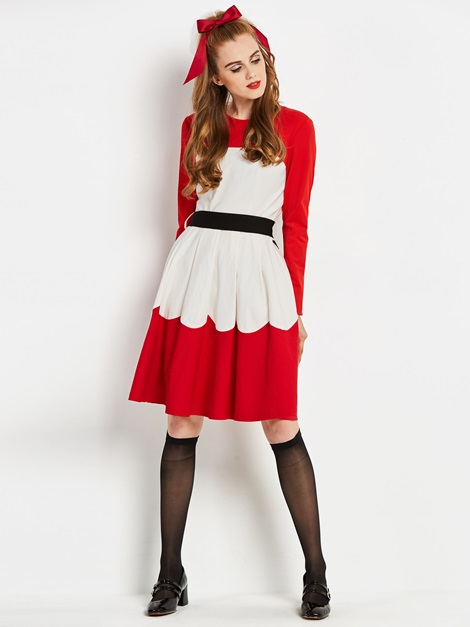 Polyester Long Sleeve Women's A-Line Dress