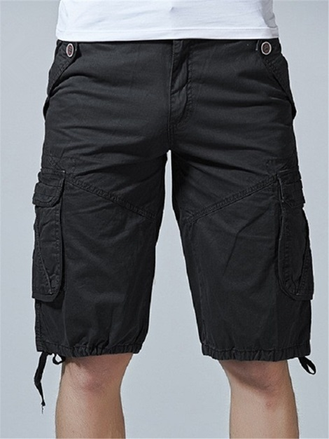 Tidebuy Solid Color Men's Cargo Shorts