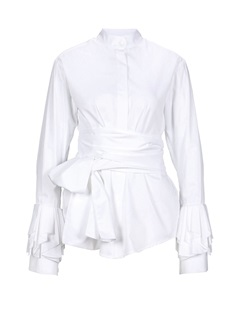 Bow Tie Front Stand Collar Long Sleeve Women's Blouse 5