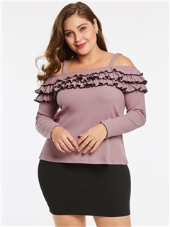 Plus Size Falbala Off Shoulder Women's T-shirt 2