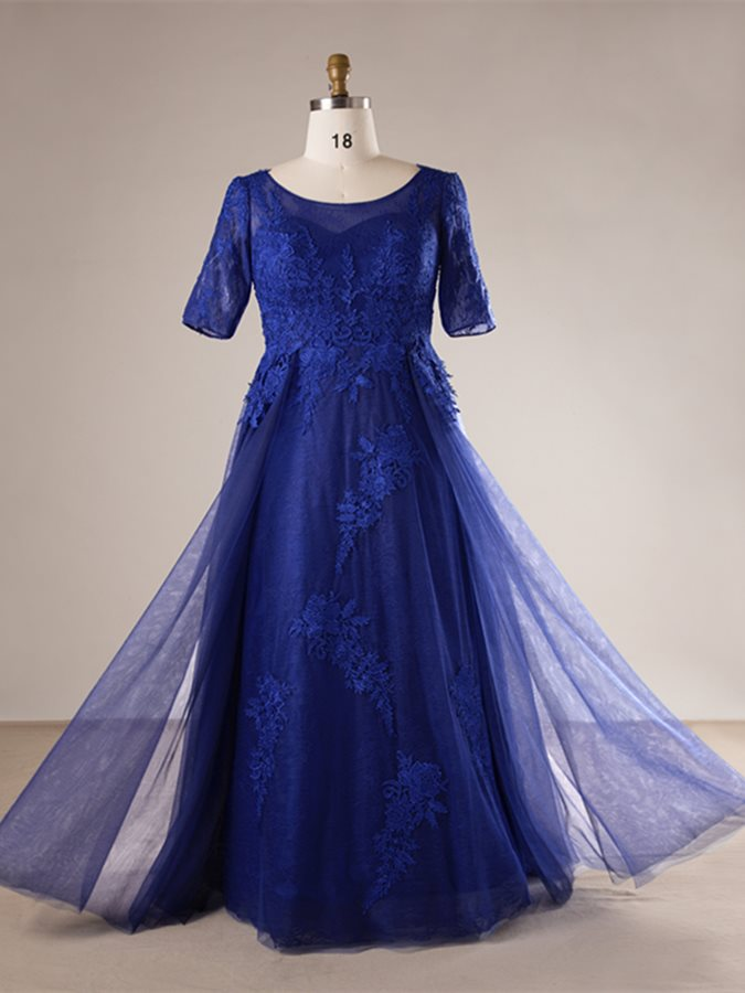 Lace A-Line Scoop Half Sleeves Plus Size Evening Dress